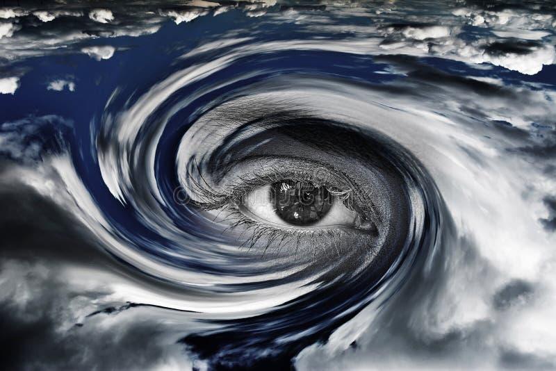Ein Hurrikan auf Erde mit Augeneffekt lizenzfreie stockfotos