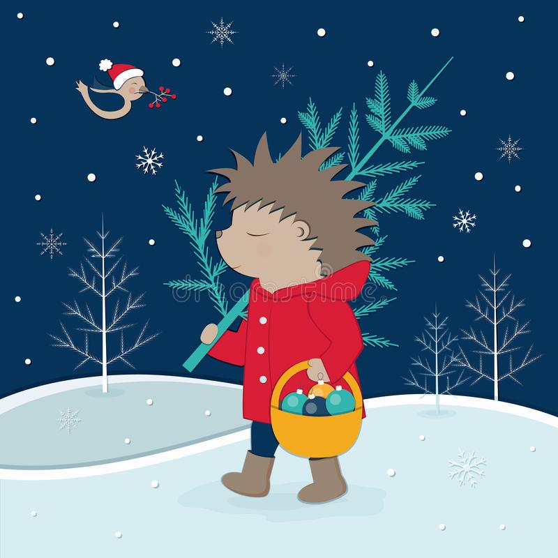 Ein Igeles mit einem Baum geht in die Waldvektor-Weihnachtsillustration stock abbildung