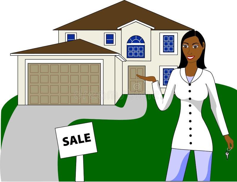 Ein Immobilienmakler mit den Tasten, die ein Haus bekanntmachen lizenzfreie abbildung