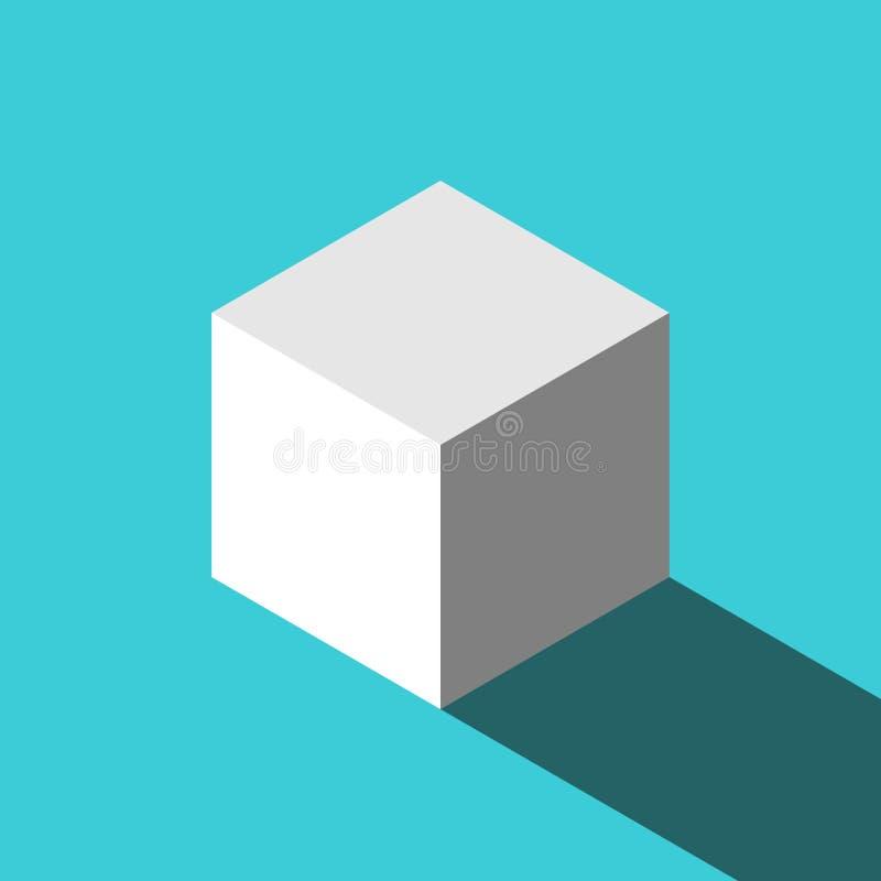 Ein isometrischer weißer Würfel lizenzfreie abbildung