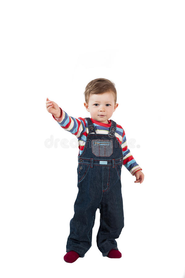 Ein jähriges kleines Baby lokalisiert auf Weiß stockfotografie