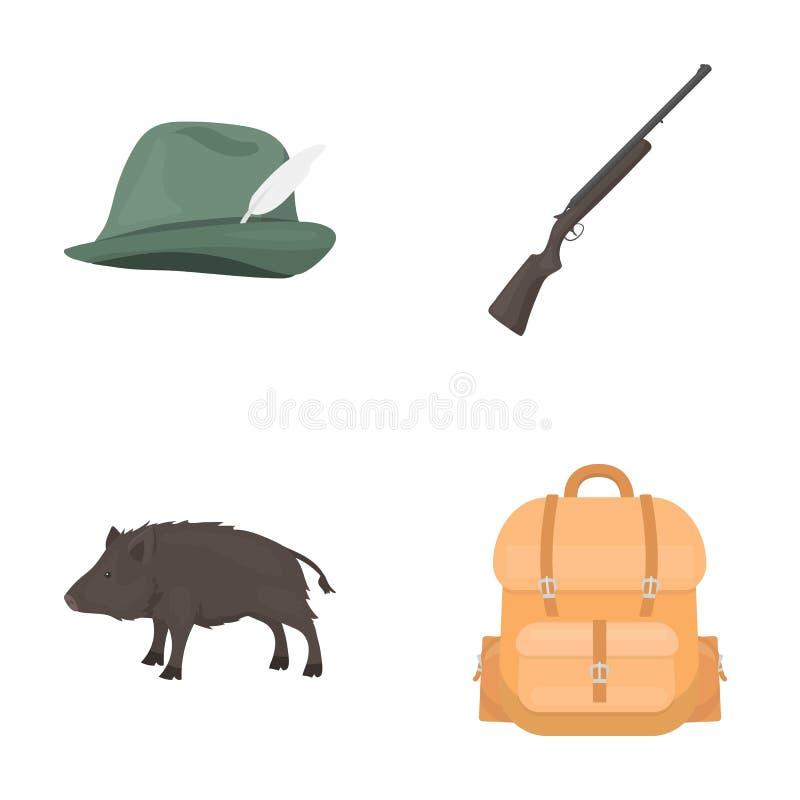 Ein Jagdhut mit einer Feder, ein wilder Eber, ein Gewehr, ein Rucksack mit Sachen Jagd von gesetzten Sammlungsikonen in der Karik vektor abbildung