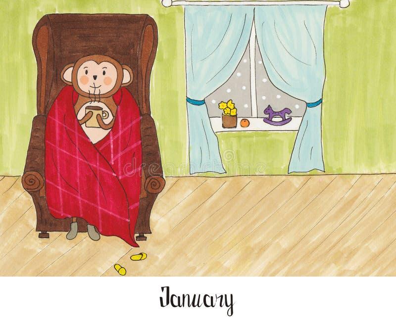 Ein Jahr im Leben eines Affen Lulu stock abbildung