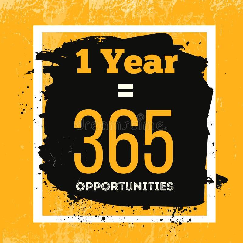 Ein Jahr ist 365 Gelegenheiten Anspornungsmotivations-Zitat über Möglichkeiten Vektor-Typografie-Konzept auf Schmutz lizenzfreie abbildung