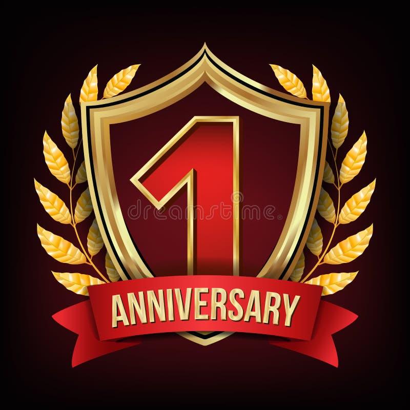 Ein Jahr-Jahrestags-Vektor Ein, erste Feier Rotes Farbband Glänzendes Goldzeichen Nummer Eins… Lorbeer Wreath für stock abbildung