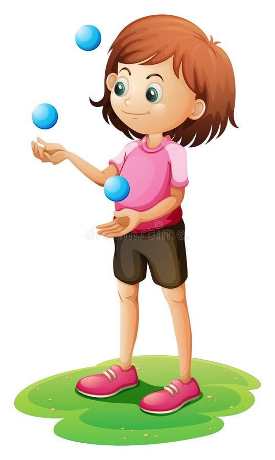 Ein jonglierendes Mädchen stock abbildung