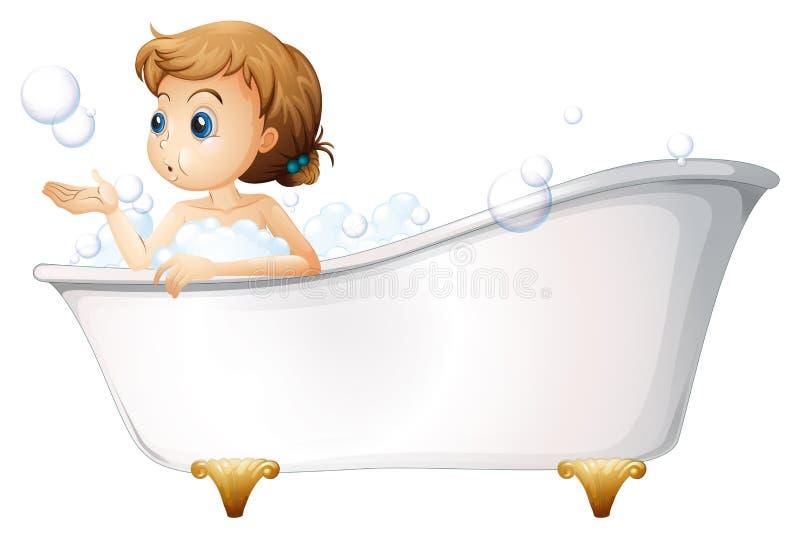 Ein Jugendlicher, der ein Bad an der Badewanne nimmt stock abbildung