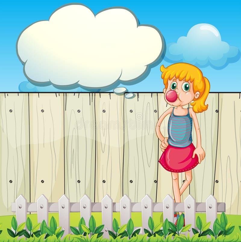 Ein Jugendlicher, der ein bubblegum mit einem leeren Hinweis isst vektor abbildung