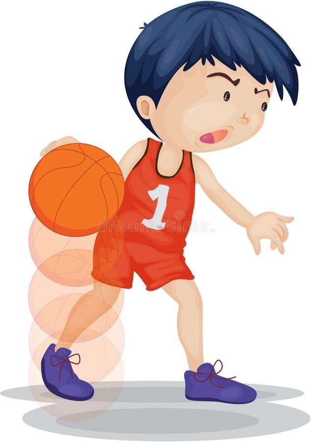 Ein Junge, der Basketball spielt stock abbildung