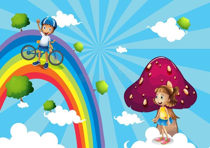 Ein Junge, der in die Regenbogen radfährt vektor abbildung
