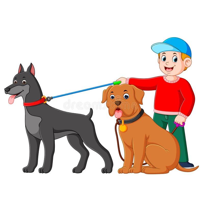 Ein Junge, der die rote Strickjacke verwendet, steht an der Rückseite großen Hundes zwei vektor abbildung