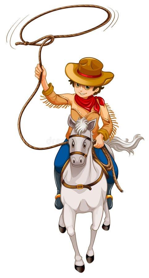 Ein Junge, der ein Pferd mit einem Hut und einem Seil reitet lizenzfreie abbildung