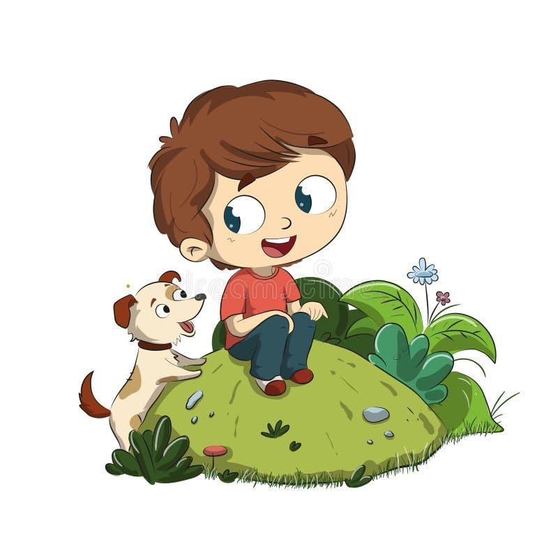 Ein Junge, der im Park mit seinem Hund sitzt lizenzfreie abbildung