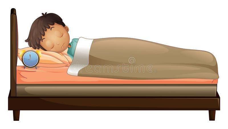 Ein Junge, der mit einem Wecker schläft lizenzfreie abbildung