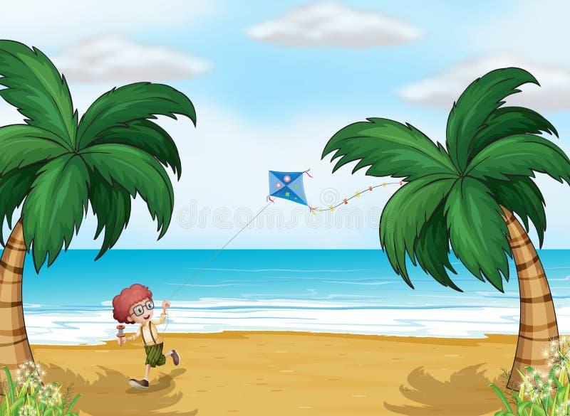 Ein Junge, der mit seinem Drachen am Strand spielt stock abbildung