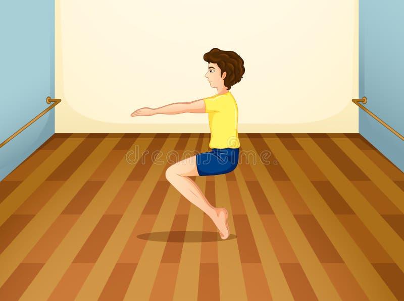 Ein Junge, der seinen Körper balanciert lizenzfreie abbildung