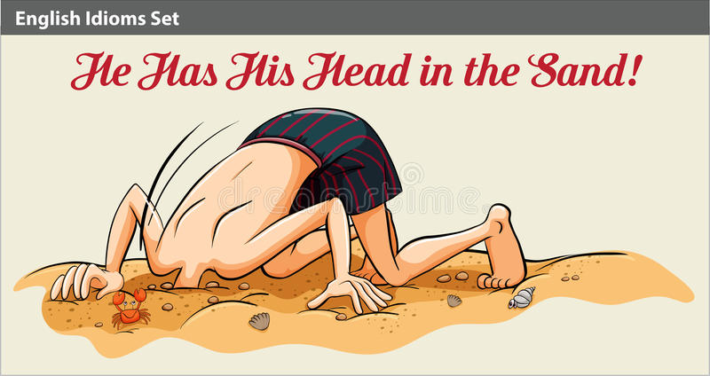 Ein Junge, der seinen Kopf in den Sand einsetzt stock abbildung