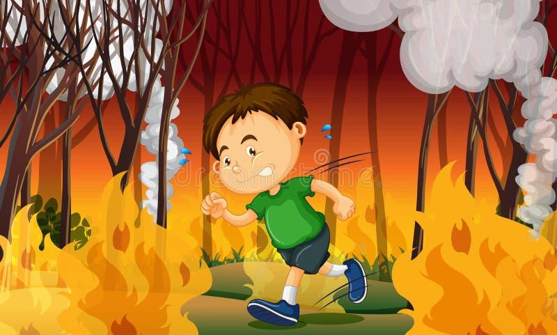 Ein Junge fest im verheerenden Feuer lizenzfreie abbildung