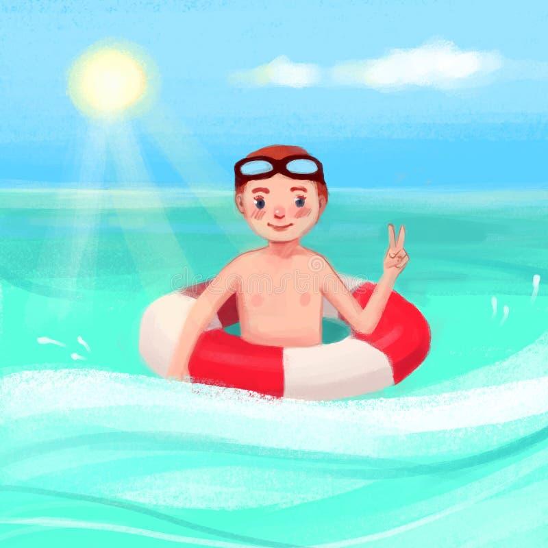 Ein Junge im Meer mit einem Rettungsring lizenzfreie abbildung