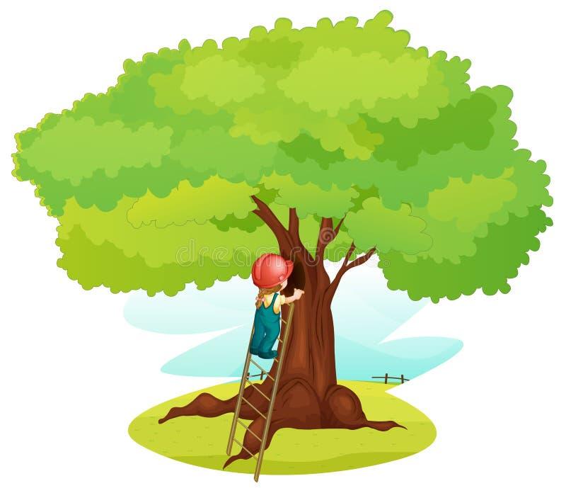 Ein Junge und eine Strichleiter unter Baum lizenzfreie abbildung