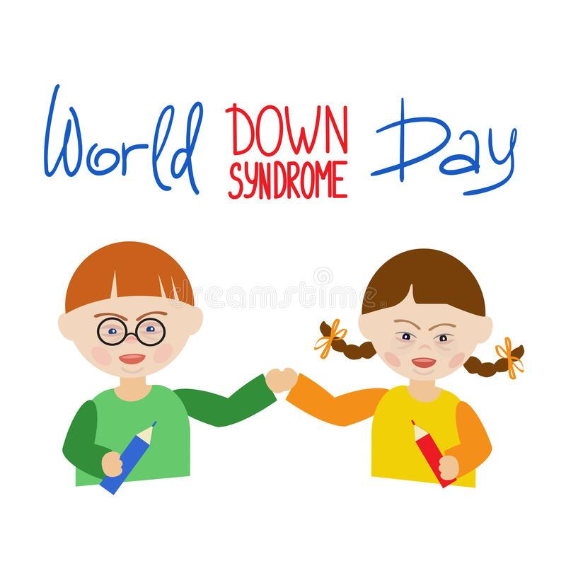 Ein Junge und ein Mädchen mit Down-Syndrom halten Hände Aufschrift-Welt-Down-Syndrom Tag lizenzfreie abbildung