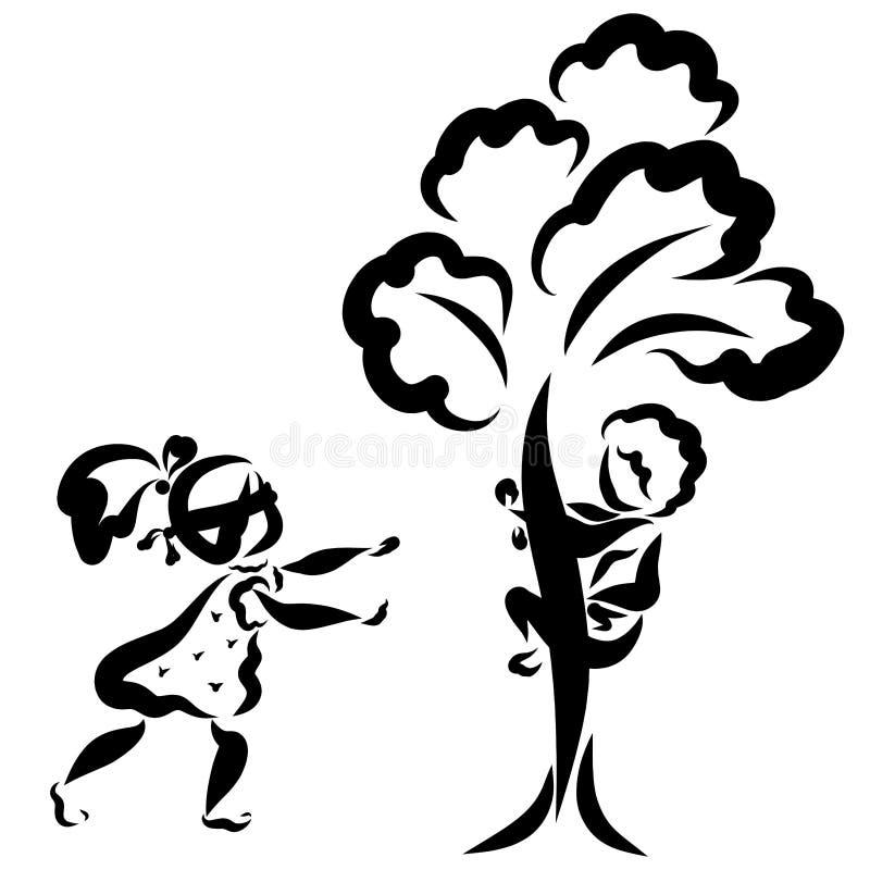 Ein Junge und ein Mädchen spielen Verstecken, ein Mädchen sucht, ein Junge sich versteckt in einem Baum vektor abbildung
