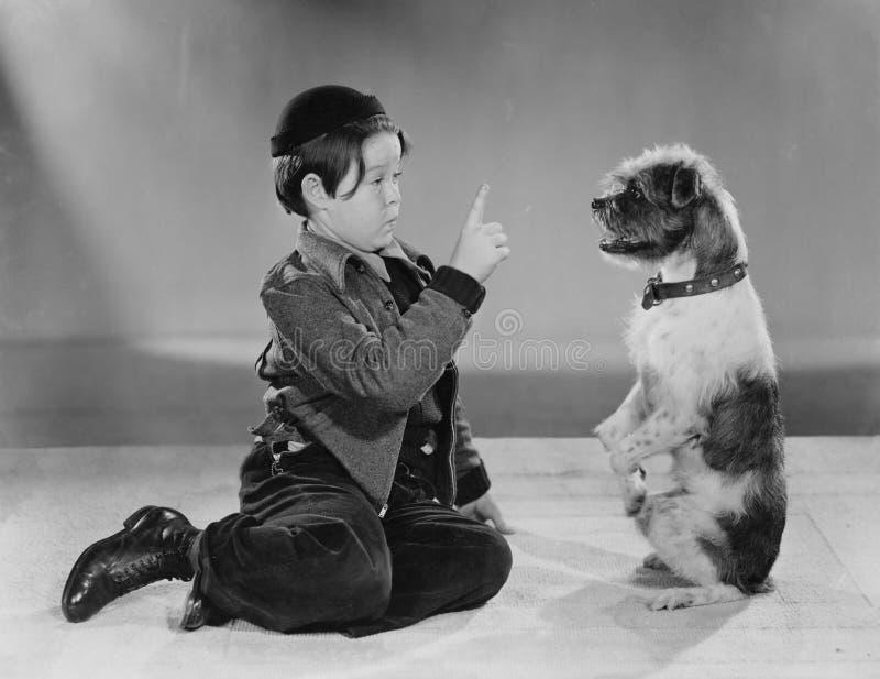 Ein Junge und sein Hund (alle dargestellten Personen sind nicht längeres lebendes und kein Zustand existiert Lieferantengarantien stockbilder