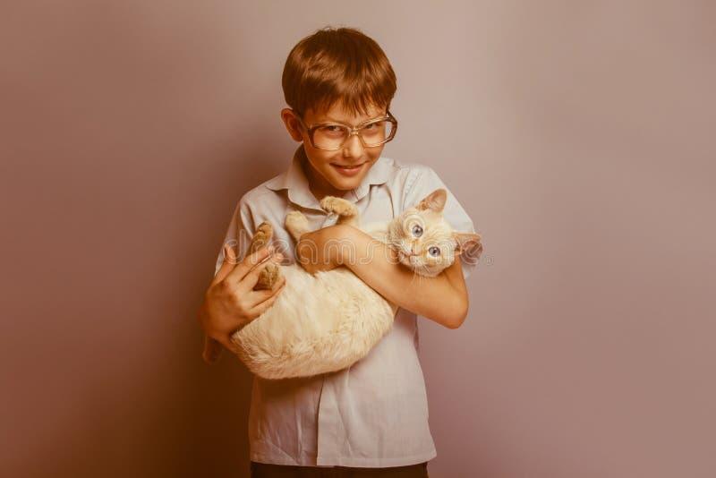 Ein Junge von 10 Jahren des europäischen Auftrittes mit lizenzfreies stockbild