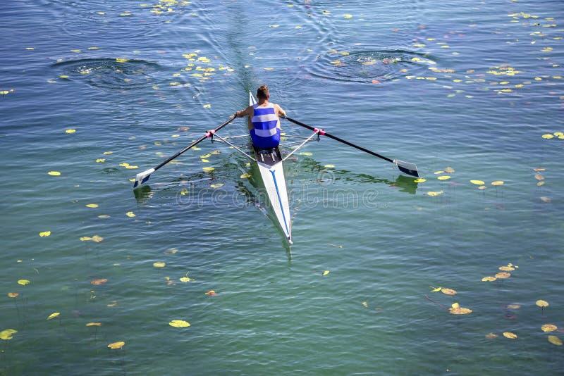 Ein Jungeeiner-Rudersportkonkurrent schaufelt auf dem ruhigen L stockfotografie