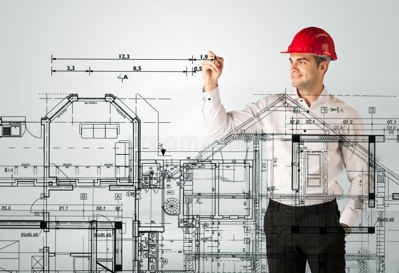 Download Ein Junger Architekt, Der Einen Hausplan Zeichnet Stockbild   Bild  Von Kreativ, Kaukasisch