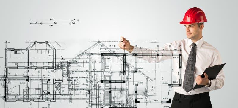 Download Ein Junger Architekt, Der Einen Hausplan Zeichnet Stockfoto   Bild  Von Field, Auslegung