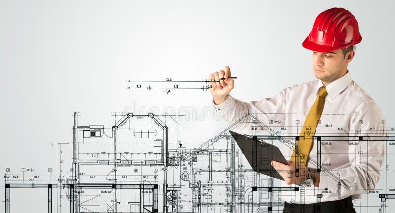 Download Ein Junger Architekt, Der Einen Hausplan Zeichnet Stockbild   Bild  Von Gebäude, Sachkenntnis