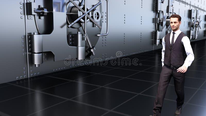Ein junger Geschäftsmann geht durch die Safes in der Bank Wiedergabe 3d stock abbildung
