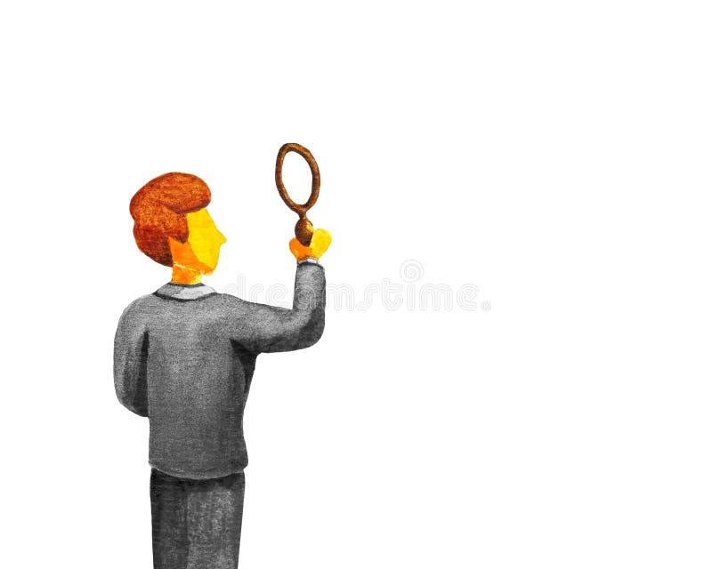 Ein junger Mann in einem grauen Anzug hält und schaut durch eine Lupe Hintere Ansicht Platz für Text, Diagramme, Kontrolldaten, lizenzfreie abbildung