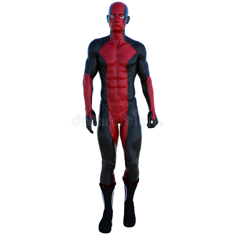 Ein junger Mann im roten und schwarzen Superheldkostüm Ruhiger Weg zur Kamera stock abbildung