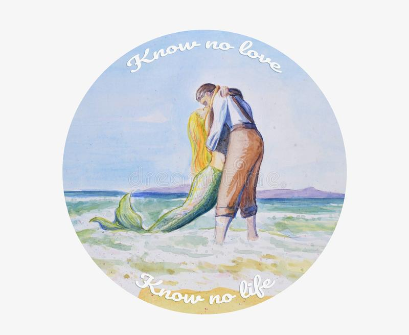 Ein junger Mann küsst eine Meerjungfrau durch das Meer Liebe und Trennung lizenzfreie abbildung