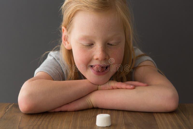 Ein junges blondes Mädchen betrachtet einen einzelnen Eibisch stockfoto