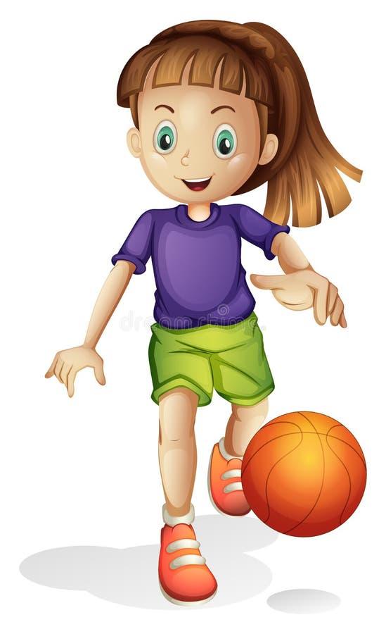 Ein junges Mädchen, das Basketball spielt vektor abbildung