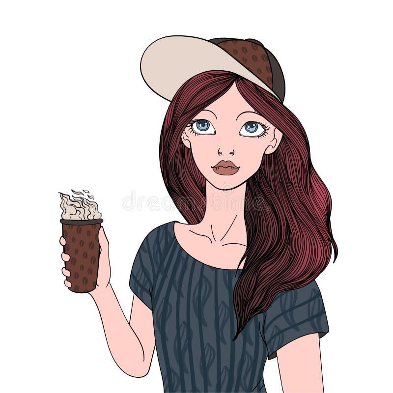 Ein junges Mädchen, das einen Tasse Kaffee hält Vector die Porträtillustration, lokalisiert auf weißem Hintergrund lizenzfreie abbildung