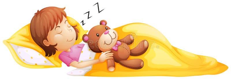 Ein junges Mädchen, das mit ihrem Spielzeug schläft vektor abbildung