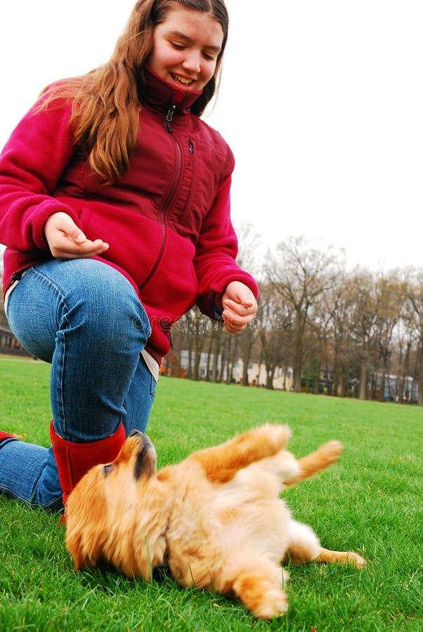 Ein junges M?dchen mit ihrem Hund lizenzfreie stockbilder