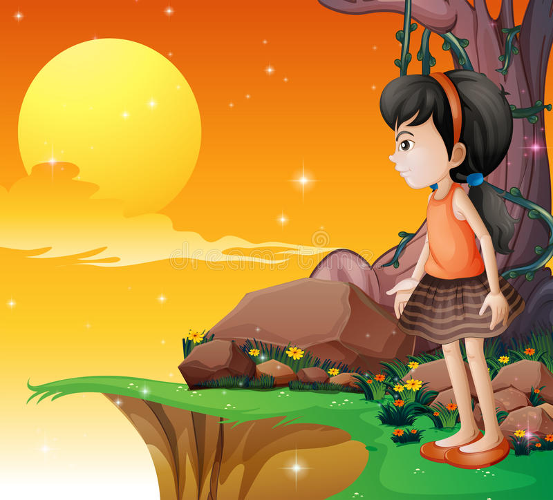 Ein junges Mädchen, welches das fullmoon an der Klippe aufpasst vektor abbildung