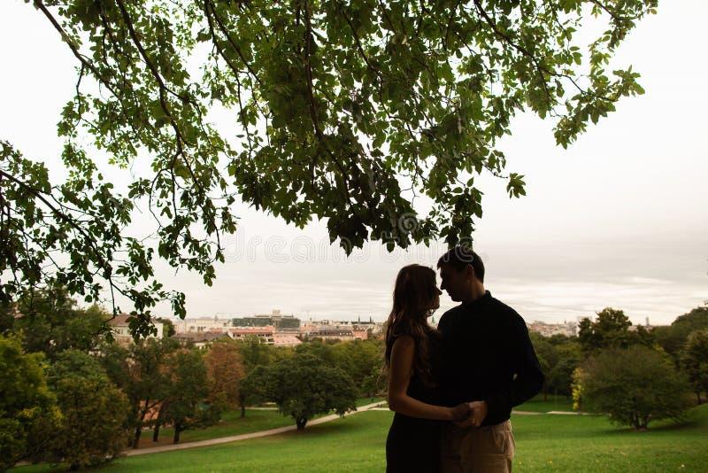 Ein junges Paar in einem Park in Budapest-Liebesgeschichte lizenzfreie stockfotografie