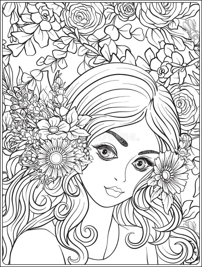 Ein junges schönes Mädchen mit einem Kranz von Blumen auf ihrem Kopf stock abbildung