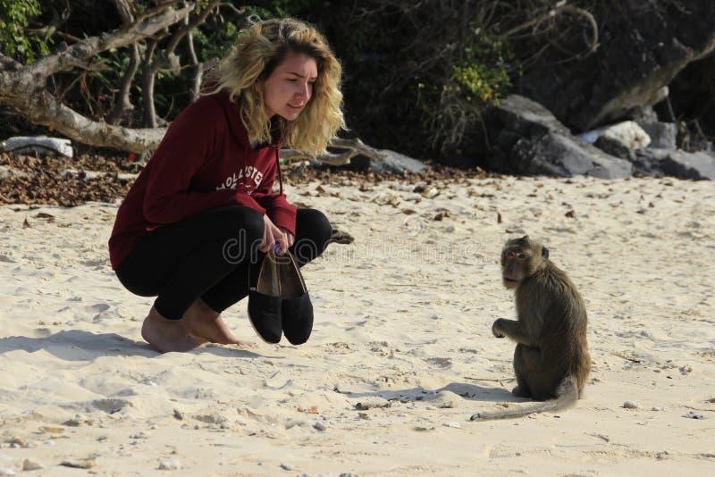 Ein junges weißes Mädchen mit dem üppigen gelockten blonden Haar duckte sich neben einem Affen lizenzfreie stockfotografie