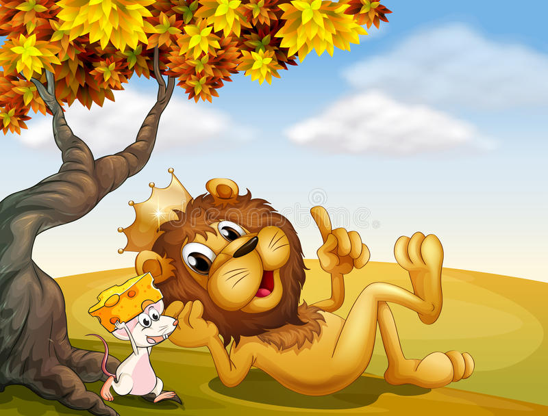 Ein Königlöwe und eine Maus unter dem Baum lizenzfreie abbildung