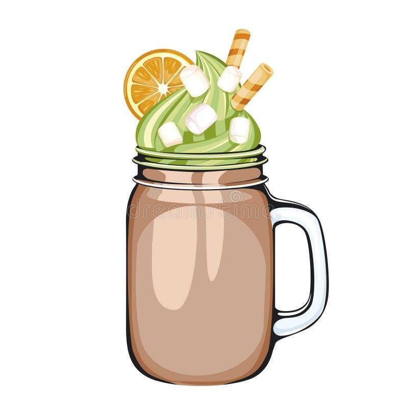 Ein köstliches Schokoladengetränk in einem Weckglas lizenzfreie abbildung