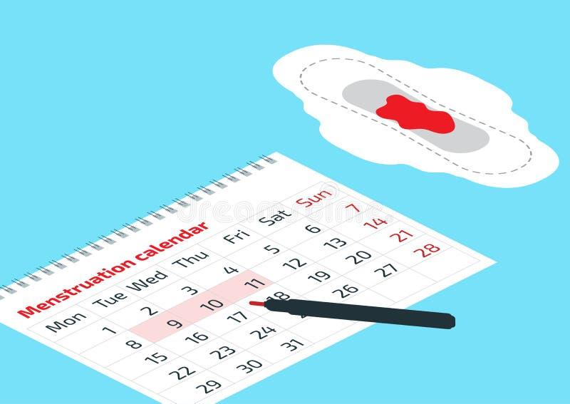 Ein Kalender mit den Monatstageskennzeichen und Monatsauflage mit Blutstropfen Vektorillustration des Blutzeitraumkalenders Lösem stock abbildung