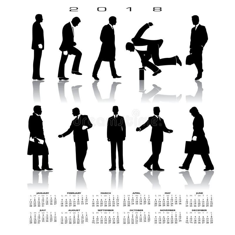 Ein Kalender 2018 mit 10 Geschäftsmannschattenbildern vektor abbildung