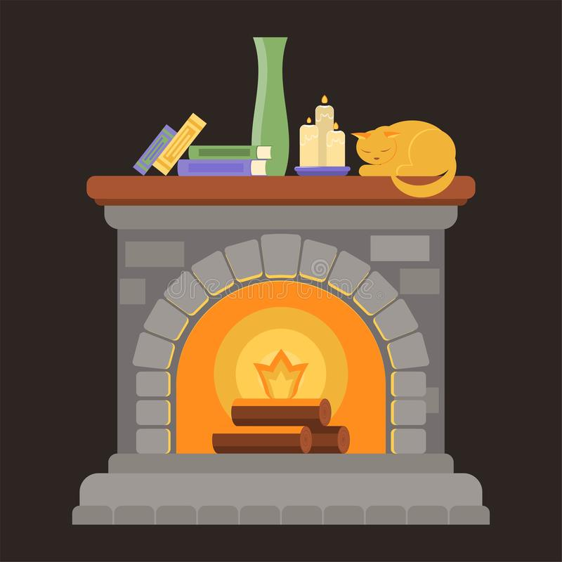 Ein Kamin gemacht von den grauen Ziegelsteinen mit einem hölzernen Regal mit Büchern, Kerzen, einem Vase und einer Schlafenkatze stockfoto